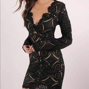 NWT Tobi Lace Is More Fitted LS Black Dress